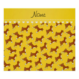 Personalized name yellow basenji dogs poster