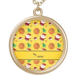 Personalized name yellow basketball christmas pendants