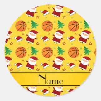Personalized name yellow basketball christmas sticker