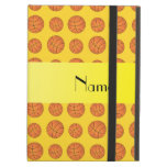Personalized name yellow basketballs iPad cover