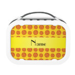 Personalized name yellow basketballs lunch box