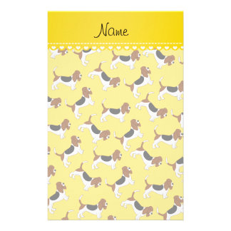 Personalized name yellow basset hound dogs stationery
