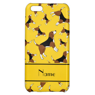 Personalized name yellow beagle dog pattern iPhone 5C covers