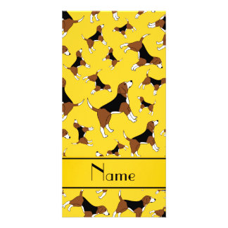 Personalized name yellow beagle dog pattern photo card