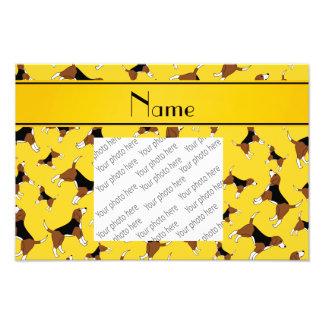 Personalized name yellow beagle dog pattern photo print
