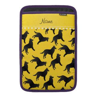 Personalized name yellow belgian sheepdog MacBook air sleeve