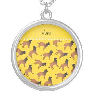 Personalized name yellow belgian tervuren dogs round pendant necklace