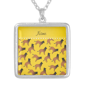 Personalized name yellow belgian tervuren dogs square pendant necklace
