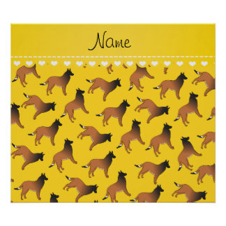 Personalized name yellow belgian tervuren dogs poster
