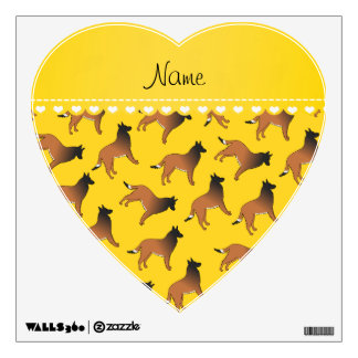 Personalized name yellow belgian tervuren dogs wall graphic