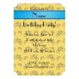 Personalized name yellow bicycle blue stripe custom announcement