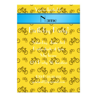 Personalized name yellow bicycle blue stripe announcements