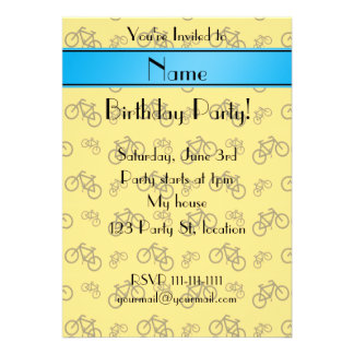 Personalized name yellow bicycle blue stripe personalized announcement