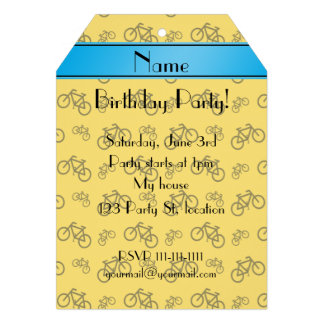 Personalized name yellow bicycle blue stripe card