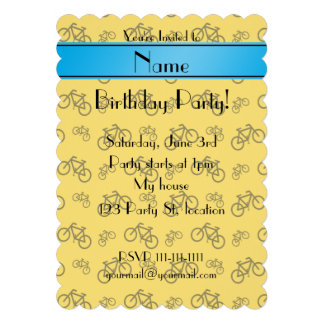 Personalized name yellow bicycle blue stripe personalized invite