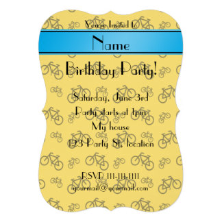 Personalized name yellow bicycle blue stripe personalized announcements