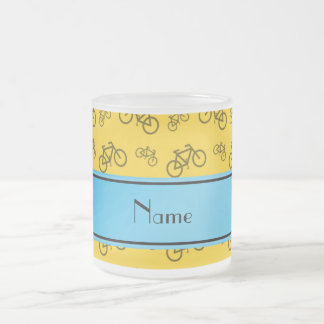 Personalized name yellow bicycle blue stripe coffee mug