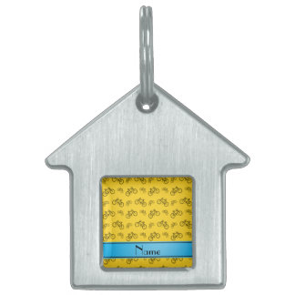 Personalized name yellow bicycle blue stripe pet name tag