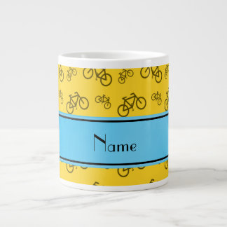 Personalized name yellow bicycle blue stripe jumbo mugs