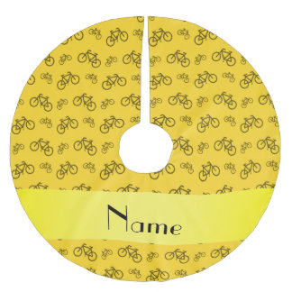 Personalized name yellow bicycle pattern brushed polyester tree skirt
