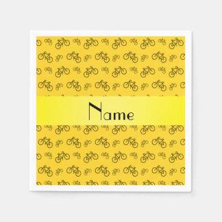 Personalized name yellow bicycle pattern napkin