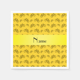 Personalized name yellow bicycle pattern paper napkin