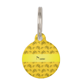 Personalized name yellow bicycle pattern pet name tag