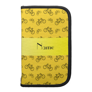 Personalized name yellow bicycle pattern planners