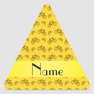 Personalized name yellow bicycle pattern triangle sticker