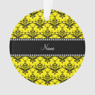 Personalized name Yellow black damask