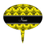 Personalized name Yellow black damask Cake Toppers
