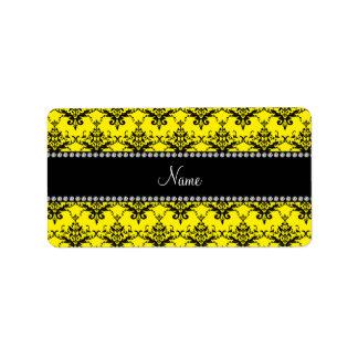 Personalized name Yellow black damask Personalized Address Labels