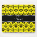 Personalized name Yellow black damask Mouse Pad