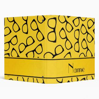 Personalized name yellow black glasses 3 ring binder