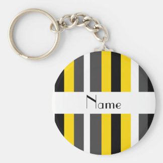 Personalized name yellow black gray white stripes basic round button keychain