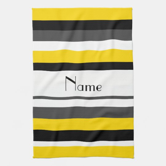 Personalized Name Yellow Black Gray White Stripes Kitchen Towel