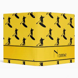 Personalized name yellow black paddleboarding 3 ring binders