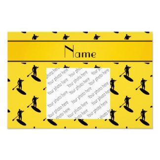 Personalized name yellow black paddleboarding photo print