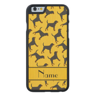 Personalized name yellow black tan coonhounds carved® maple iPhone 6 slim case