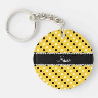 Personalized name yellow black white polka dots Double-Sided round acrylic keychain