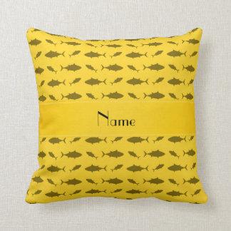 Personalized name yellow bluefin tuna pattern pillow