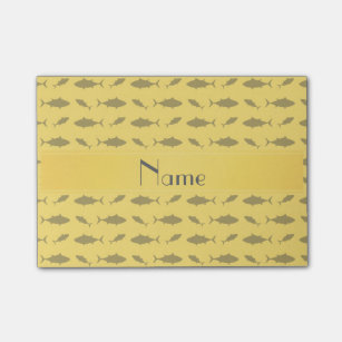 Personalized Name Yellow Bluefin Tuna Pattern Post It Notes
