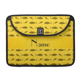Personalized name yellow bluefin tuna pattern sleeves for MacBooks