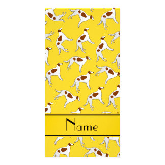 Personalized name yellow borzoi dog pattern photo card