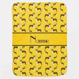 Personalized name yellow boston terrier baby blanket
