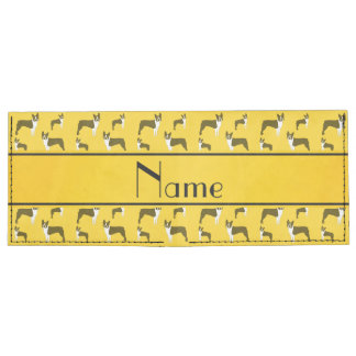 Personalized name yellow boston terrier billfold wallet