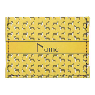Personalized name yellow boston terrier tyvek® card wallet