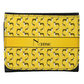 Personalized name yellow boston terrier leather tri-fold wallet