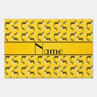 Personalized name yellow boston terrier yard sign