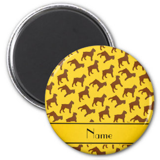 Personalized name yellow Bouvier des Flandres dogs 2 Inch Round Magnet